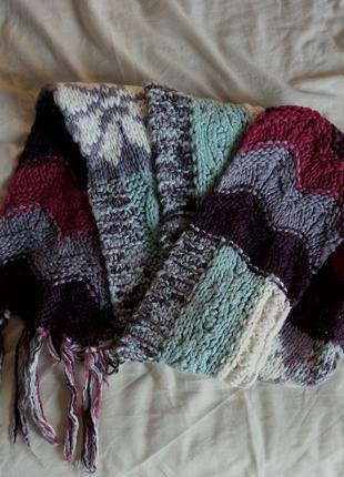 Теплый вязаный шарф1
