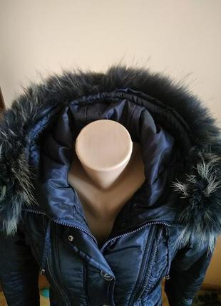 Теплая зимняя плащовочная  длинная куртка плащ с натуральным мехом l !!скидка-15%3