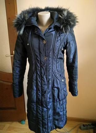 Теплая зимняя плащовочная  длинная куртка плащ с натуральным мехом l !!скидка-15%1