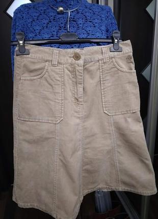 Базовая бежевая юбка миди  из микровельвета3