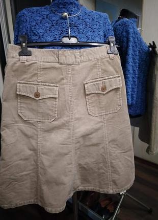 Базовая бежевая юбка миди  из микровельвета2