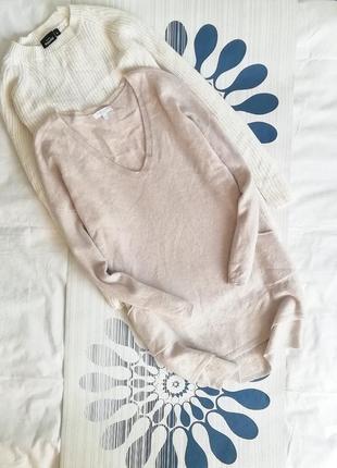 Джемпер бежевый пуловер туника удлиненная кофта кашемировый 100%cashmere v-образным1