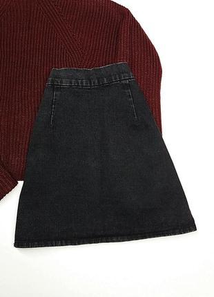 Темно-серая джинсовая юбочка трапецией2