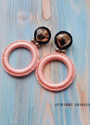 Нарядные серьги кольца возможны с клипсами розово чёрные