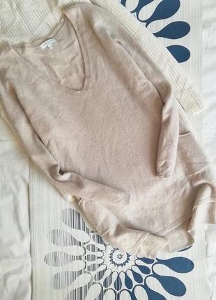 Джемпер бежевый пуловер туника удлиненная кофта кашемировый 100%cashmere v-образным2