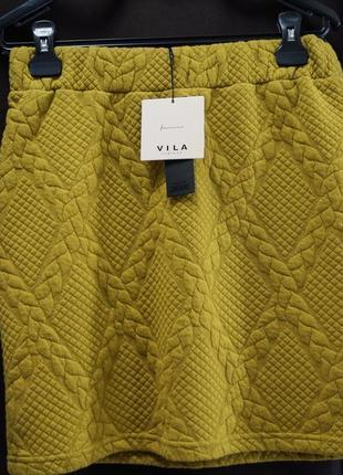 Теплая горчичная юбка от бренда vila clothes