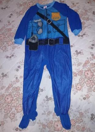 Слип костюм полицейского карнавальный новогодний 3-4года