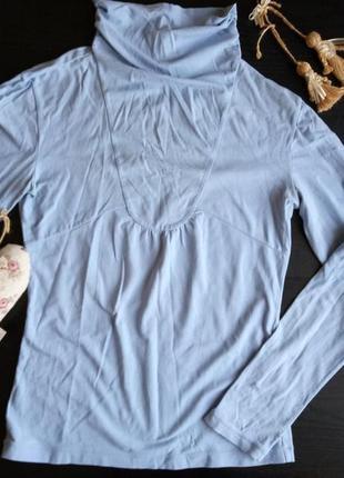 Гольф тонкий хлопковый небесного голубого цвета с милыми пуговками2