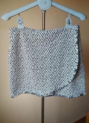 Плотная теплая юбка на запах с бахрамой от amisu1