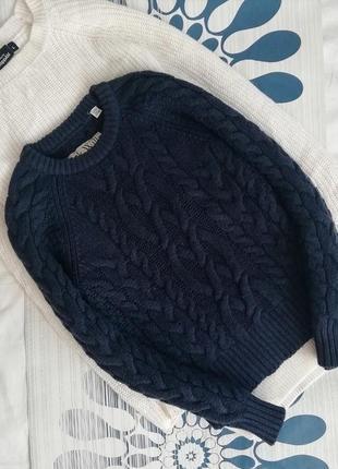 Шерстяной синий свитер світер синій jack wills 100%lambswool джемпер пуловер косы1