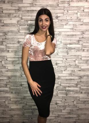 Черная юбка с завышенной талией1