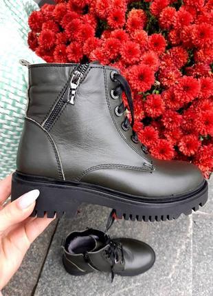 Кожаные зимние ботинки1