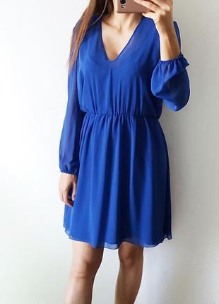 Синее шифоновое платье mangano (сделано в италии), открытая спинка2
