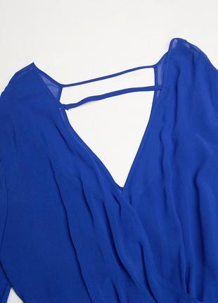 Синее шифоновое платье mangano (сделано в италии), открытая спинка5