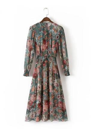 Утонченное двойное фирменное миди платье в цветной рисунок1