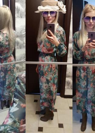 Утонченное двойное фирменное миди платье в цветной рисунок4