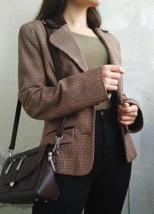 Пиджак жакет в гусиную лапку с замшевым воротником1