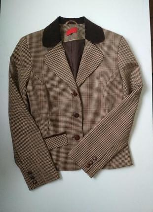 Пиджак жакет в гусиную лапку с замшевым воротником3