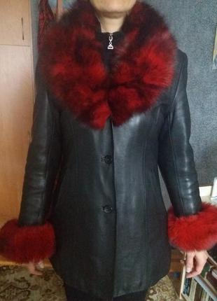 Натуральная кожаная куртка-пиджак осень-зима с утепленной подкладкой 48размер1