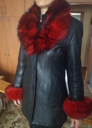Натуральная кожаная куртка-пиджак осень-зима с утепленной подкладкой 48размер2