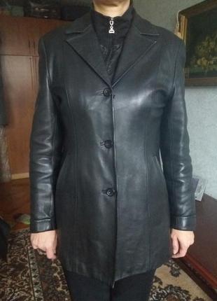 Натуральная кожаная куртка-пиджак осень-зима с утепленной подкладкой 48размер3
