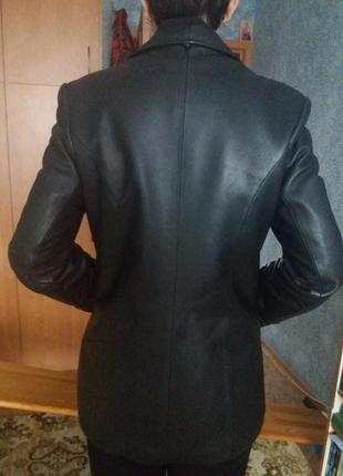 Натуральная кожаная куртка-пиджак осень-зима с утепленной подкладкой 48размер4