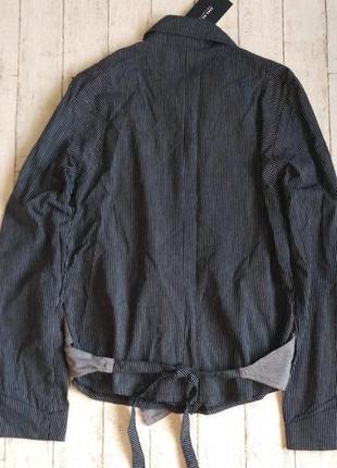 Льняная рубашка в полоску с жилеткой бренда zara4