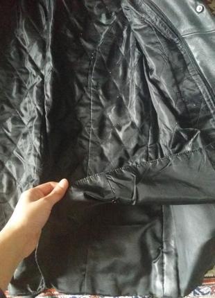 Натуральная кожаная куртка-пиджак осень-зима с утепленной подкладкой 48размер5