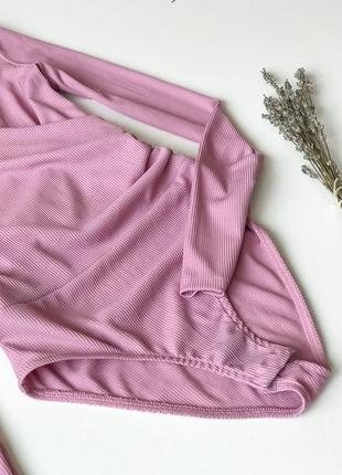 Боди нежно розового цвета, джемпер в мелкий рубчик4