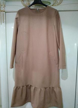 Платье миди, платье с воланом1