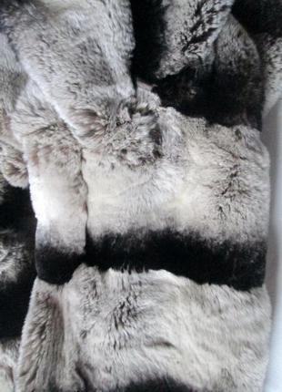 Шуба,шубка ,полушубок натуральный мех шиншилла,шиншилловый кролик,капюшон! 46-48!5