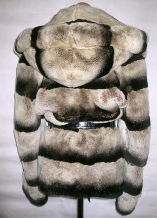 Шуба,шубка ,полушубок натуральный мех шиншилла,шиншилловый кролик,капюшон! 46-48!2