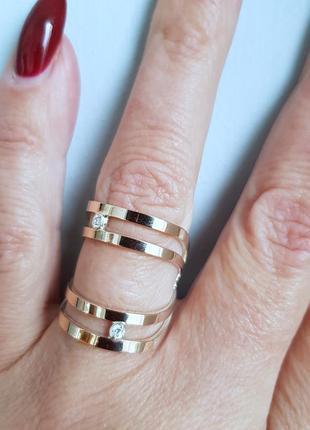 Серебряное кольцо 925 проба  с золотой накладкой 375 пробы1