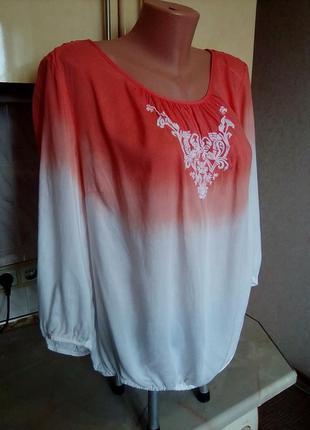 """Креативная эко-блуза вышиванка """"градиент"""", ткань модал3"""