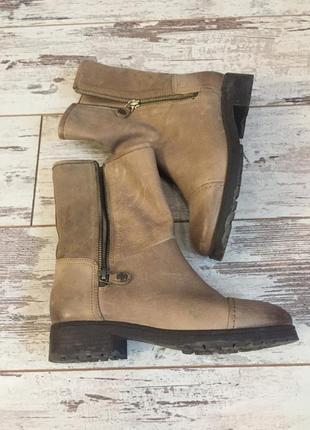 Бежевые кожаные ботинки2