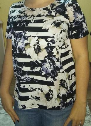 Блуза с коротким рукавом в цветы1