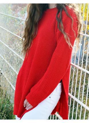 Удлиненный вязаный свитер prettylittlething с разрезами по бокам