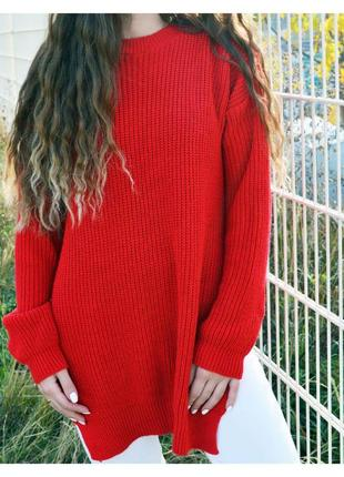 Удлиненный вязаный свитер prettylittlething с разрезами по бокам2