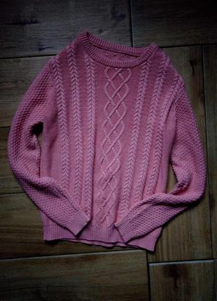 Стильный розовый свитер, вязаный свитер,теплая кофта,джемпер,нежно розовый свитерок