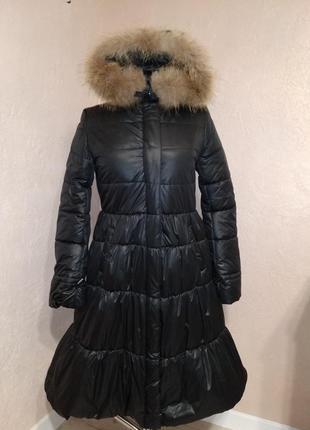 Зимнее пальто с натуральным мехом енота 44-50р черное2