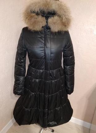 Зимнее пальто с натуральным мехом енота 44-50р черное1
