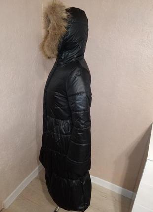 Зимнее пальто с натуральным мехом енота 44-50р черное4