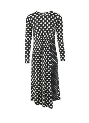 Комбинированное платье в горошек миди