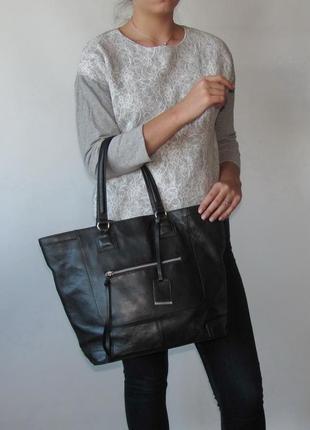 Большая сумка шопер h&m, швеция, натуральная кожа1