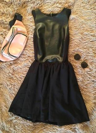Супер крутое платье с «кожаной» вставкой, new look, размер 8