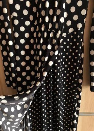 Комбинированное платье в горошек миди3