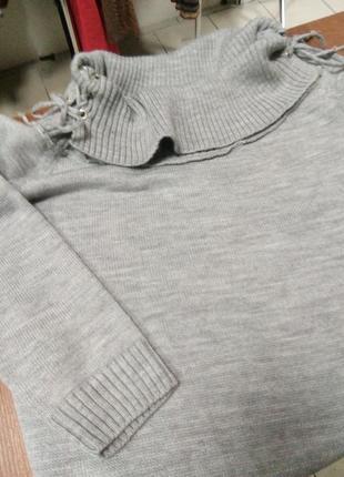 Туника (платье) вязанная серая2