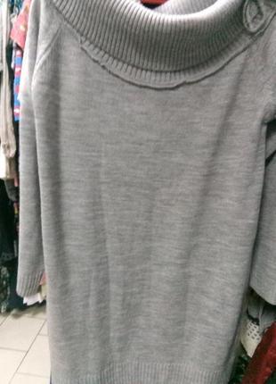 Туника (платье) вязанная серая4