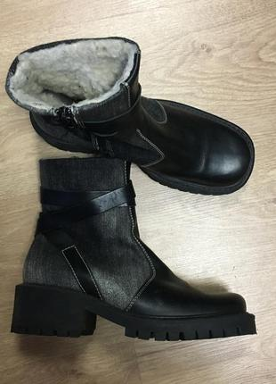 Ботинки сапоги кожа набивная овчина размер 371