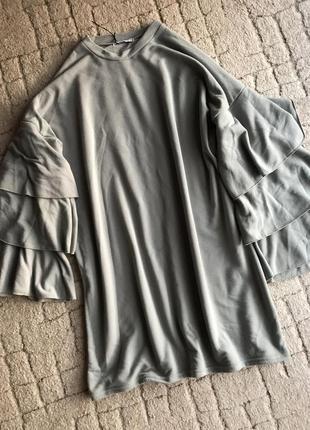 Шикарное тёплое платье свитшот с воланами1